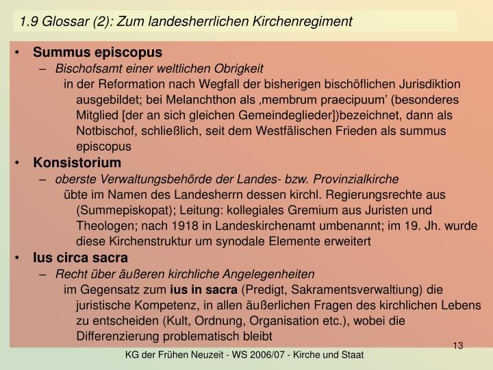 1.9 Glossar (2): Zum landesherrlichen Kirchenregiment