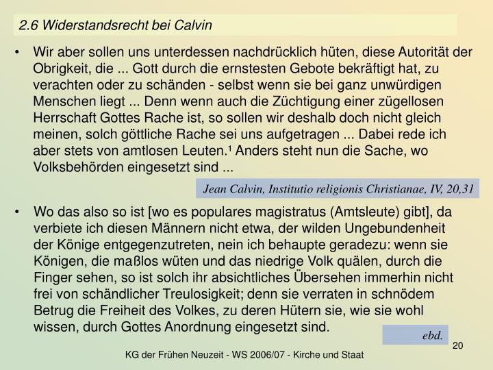 2.6 Widerstandsrecht bei Calvin
