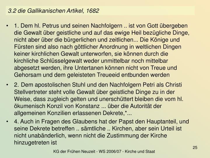 3.2 die Gallikanischen Artikel, 1682