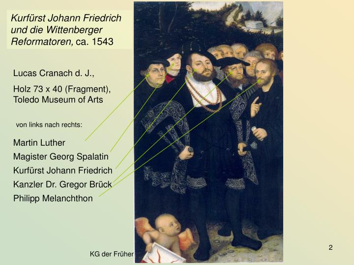 Kurfürst Johann Friedrich und die Wittenberger Reformatoren,