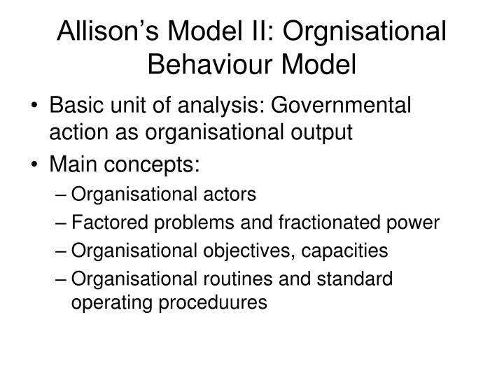 Allison's Model II: Orgnisational Behaviour Model