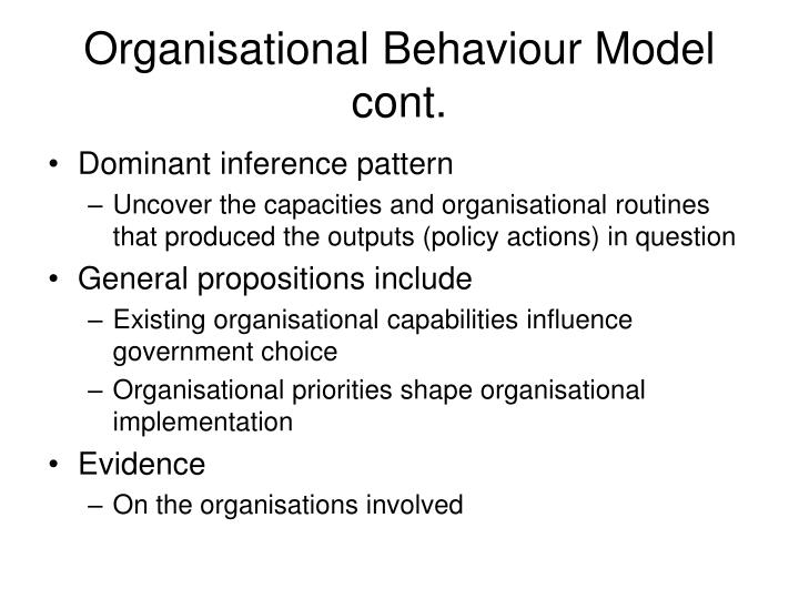 Organisational Behaviour Model cont.
