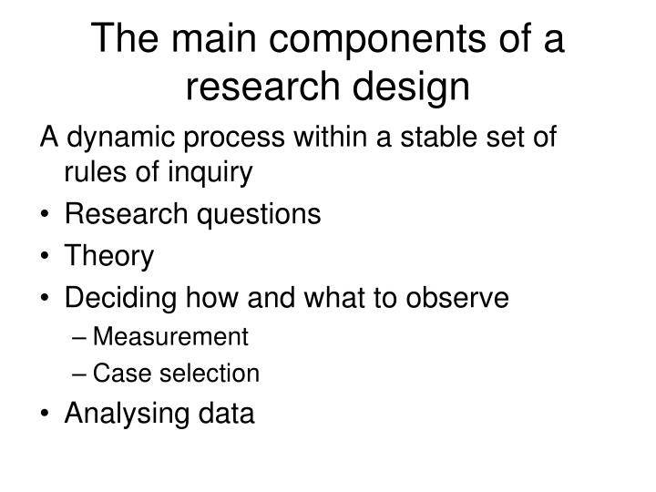 The main components of a research design