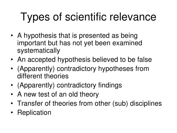 Types of scientific relevance