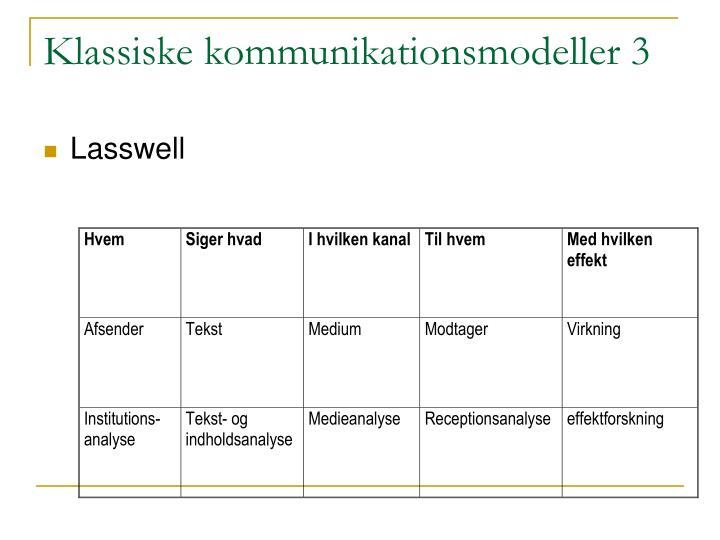 Klassiske kommunikationsmodeller 3