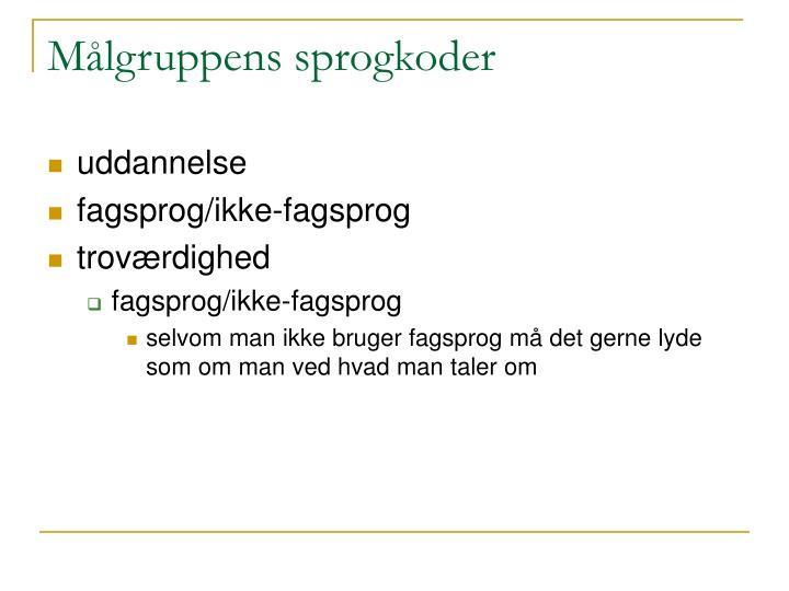 Målgruppens sprogkoder