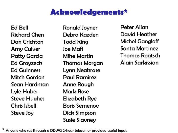 Acknowledgements*