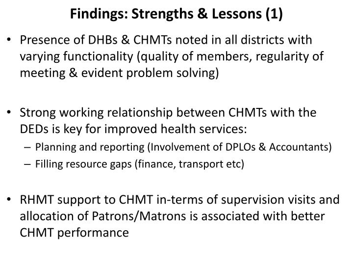 Findings: Strengths & Lessons (1)