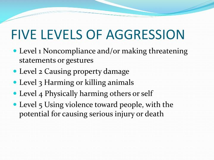 FIVE LEVELS OF AGGRESSION