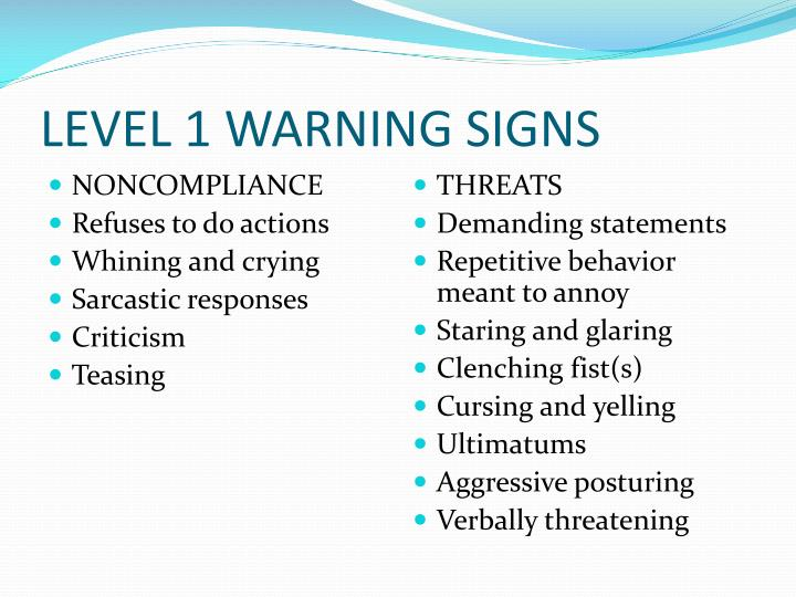 LEVEL 1 WARNING SIGNS
