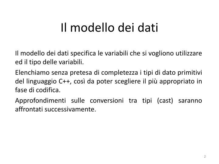 Il modello dei dati