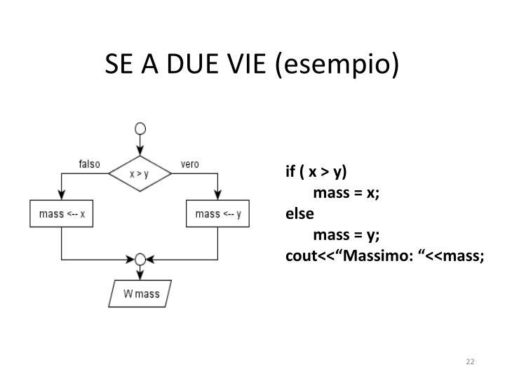 SE A DUE VIE (esempio)