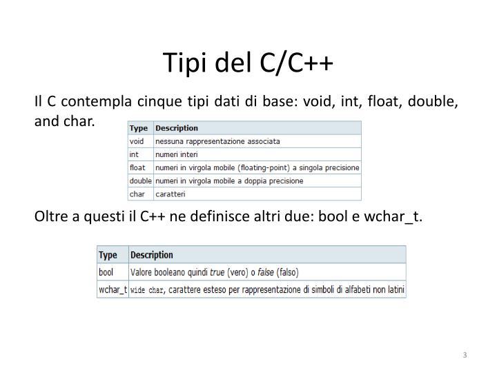 Tipi del C/C++
