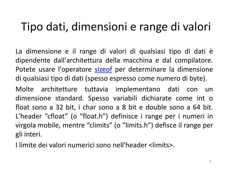 Tipo dati, dimensioni e rangedivalori