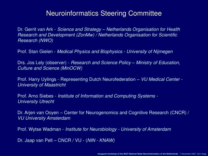 Neuroinformatics Steering Committee