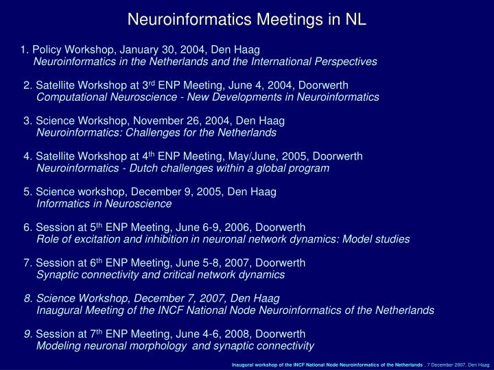 Neuroinformatics Meetings in NL