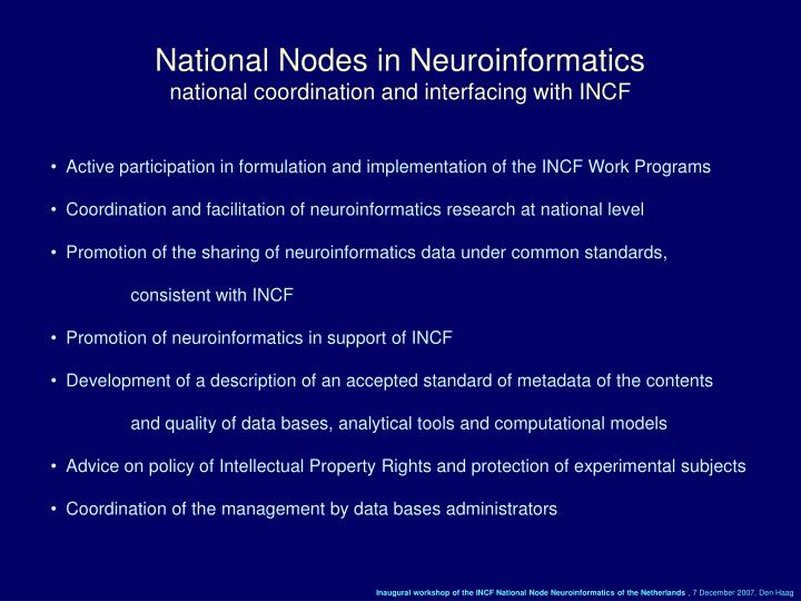 National Nodes in Neuroinformatics