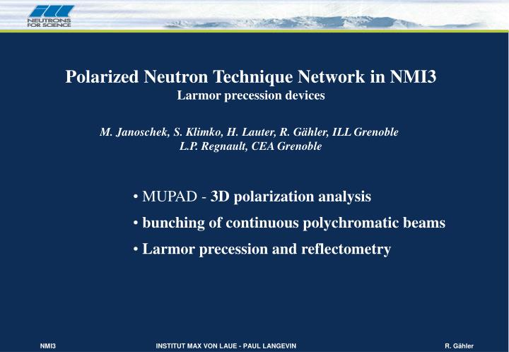Polarized Neutron Technique Network in NMI3
