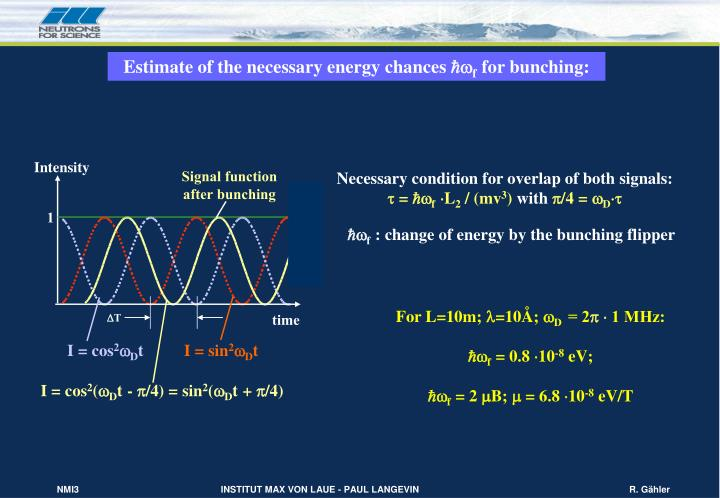 Estimate of the necessary energy chances