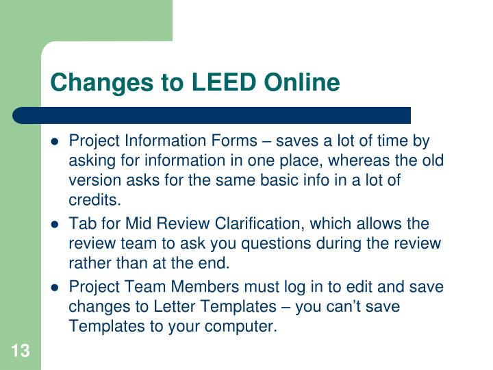 Changes to LEED Online