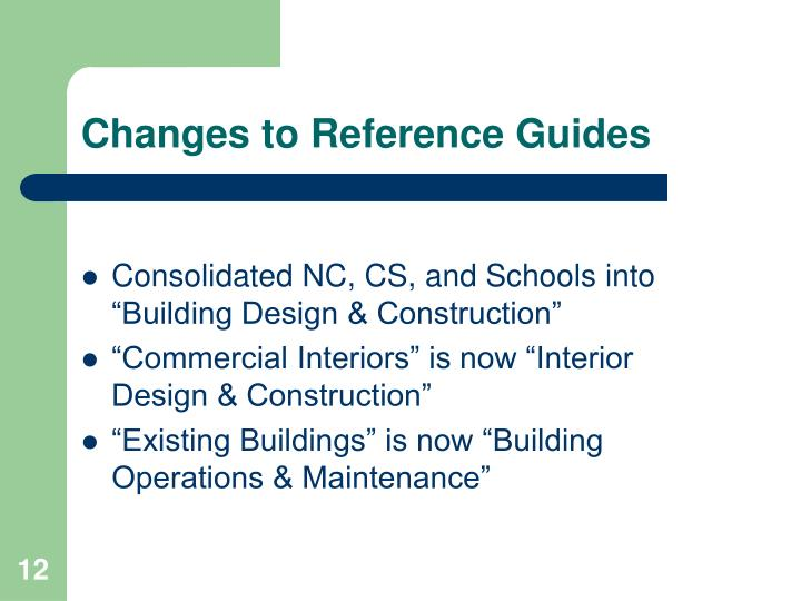 Changes to Reference Guides