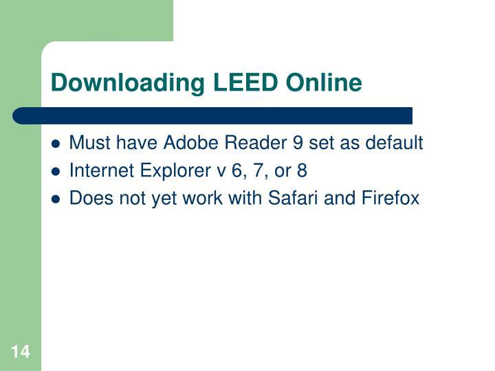 Downloading LEED Online