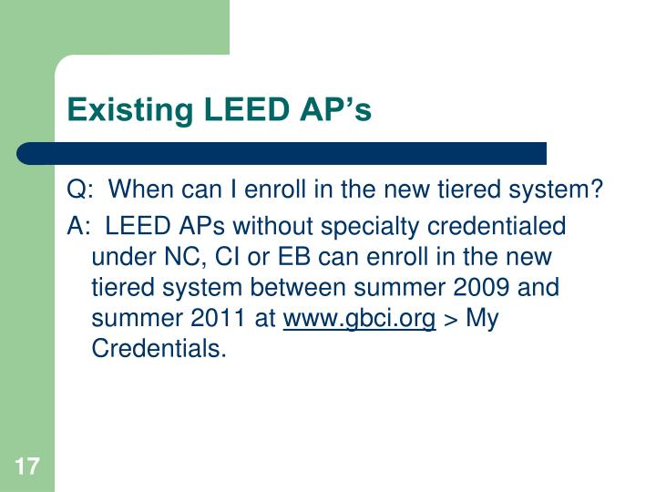 Existing LEED AP's