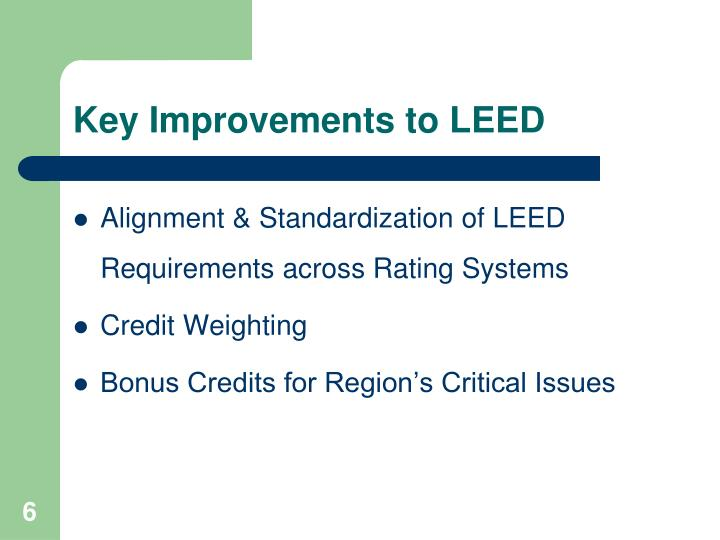 Key Improvements to LEED