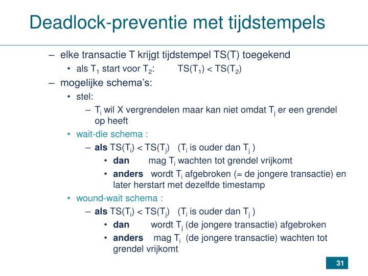 Deadlock-preventie met tijdstempels