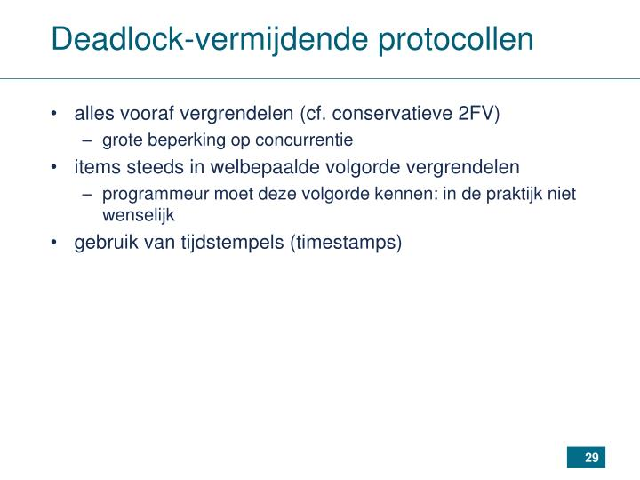 Deadlock-vermijdende protocollen