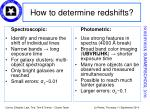 how to determine redshifts