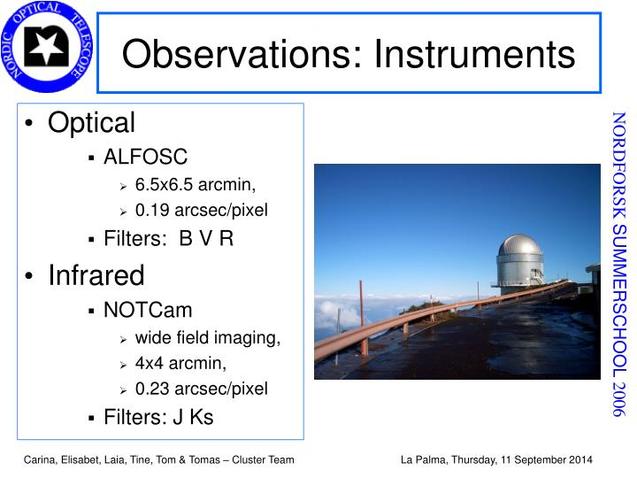Observations: Instruments