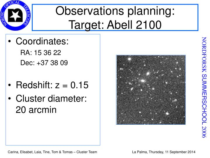 Observations planning: