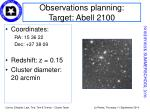 observations planning target abell 2100