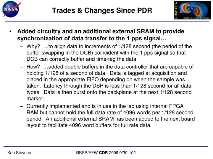 Trades & Changes Since PDR
