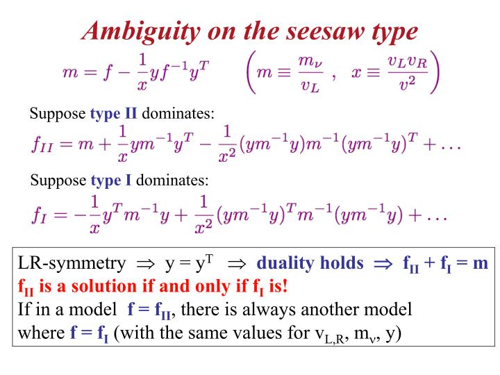 Ambiguity on the seesaw type