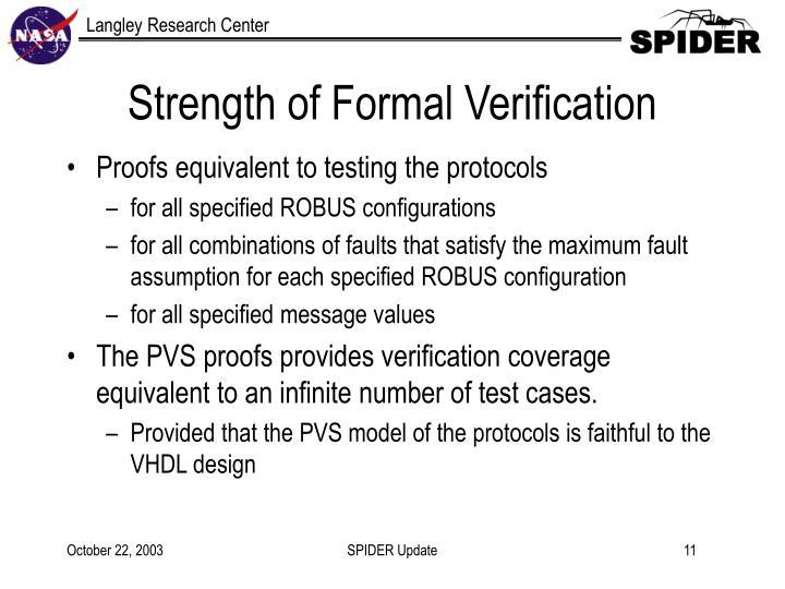 Strength of Formal Verification