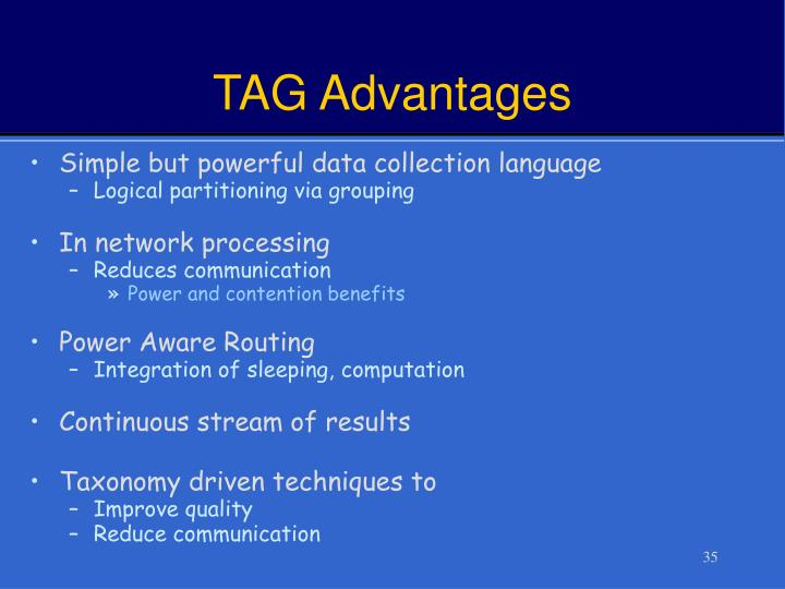 TAG Advantages