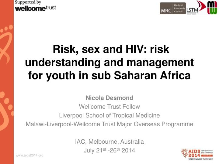 Risk sex and hiv risk understanding and management for youth in sub saharan africa