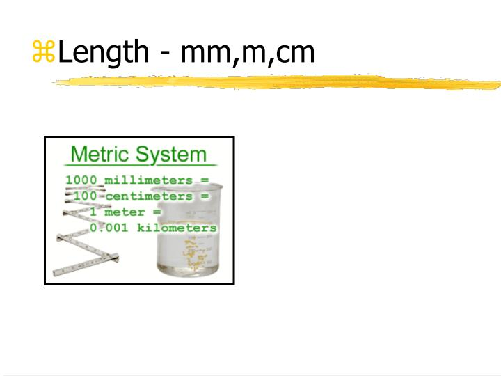 Length - mm,m,cm