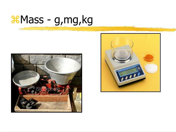 Mass - g,mg,kg