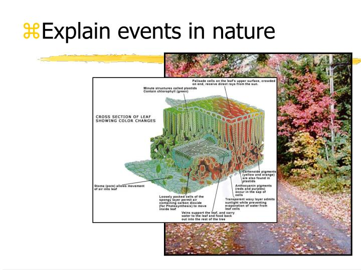 Explain events in nature
