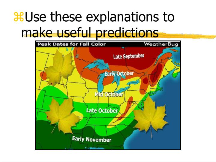 Use these explanations to make useful predictions