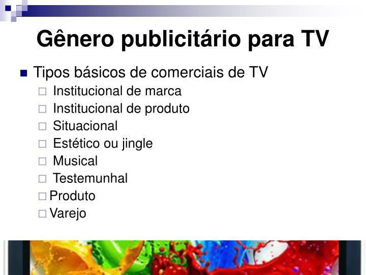 Gênero publicitário para TV