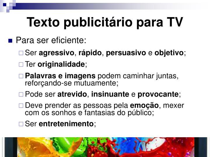 Texto publicitário para TV