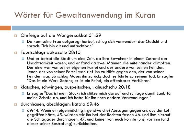 Wörter für Gewaltanwendung im Kuran