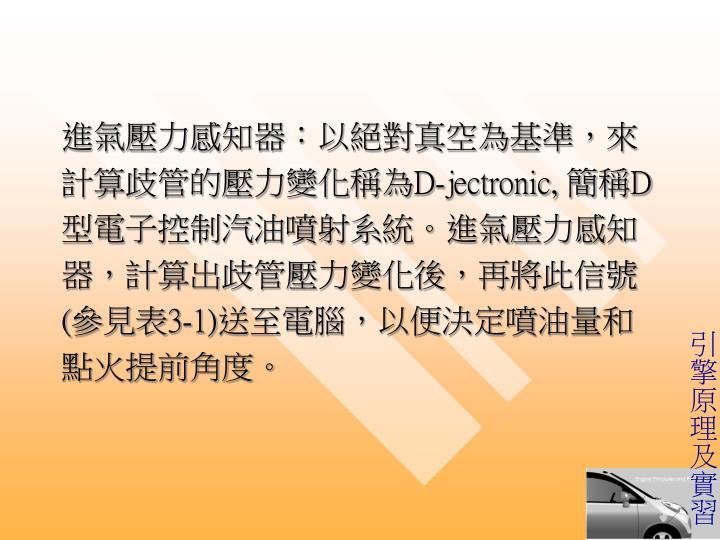 進氣壓力感知器:以絕對真空為基準,來計算歧管的壓力變化稱為