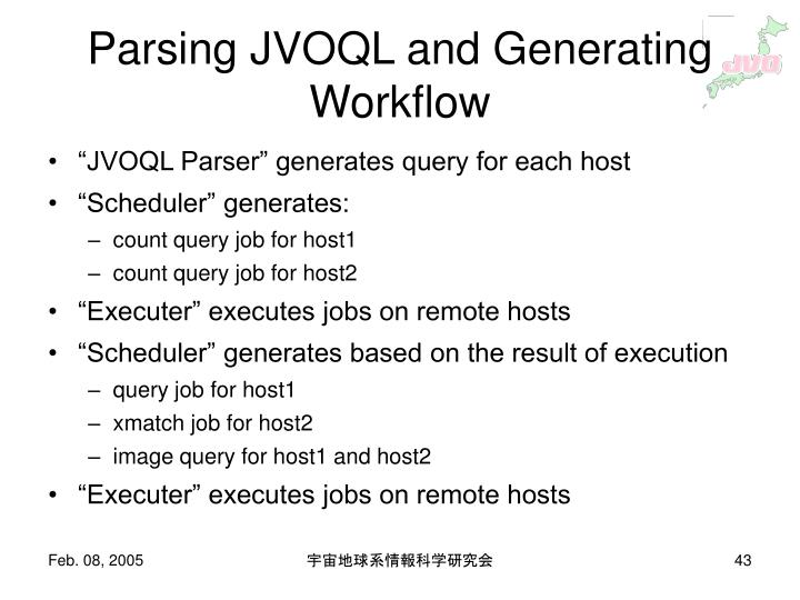 Parsing JVOQL and Generating Workflow