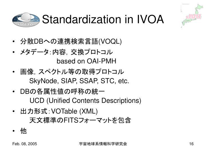 Standardization in IVOA