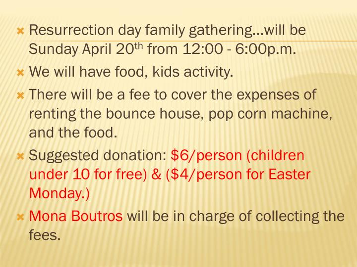 Resurrection day family gathering…will be Sunday April 20